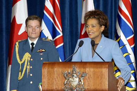 On March 9, 2006, in Vancouver, the Governor General attended a luncheon hosted by the Honourable Gordon Campbell, Premier of British Columbia. In her speech, the Governor General thanked the people of British Columbia for their warm welcome and outlined the activities in which she participated during her first official visit to British Columbia.