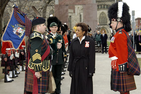 Her Excellency the Right Honourable Michaëlle Jean, Governor General of Canada, inspects a Guard of Honour from the Cameron Highlanders of Ottawa during her Civic call to the City of Ottawa on December 1 , 2005.