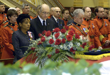 On behalf of all Canadians, Their Excellencies, the Right Honourable Michaëlle Jean, Governor General of Canada, and Mr. Jean-Daniel Lafond attended the funeral service for Mr. Mark Bourque, on Wednesday, December 28, 2005 at the Basilique Notre-Dame de Québec in Quebec City.