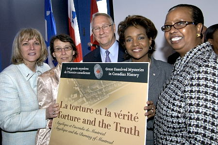 Governor General Michaëlle Jean launches the new educational website <em>Torture and the Truth: Angélique and the Burning of Montreal</em>. The launch was part of a series of events held in Montreal on April 7, 2006, to honour Marie-Josèphe Angélique, a Black slave charged with arson and subsequently hanged publicly in Montreal in June 1734.