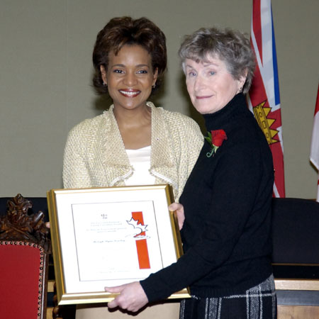 <p>Her Excellency presented the Governor General's Caring Canadian Award to Ms. Shelagh Wynn Gourlay at a ceremony held in Victoria, British Columbia, on March 8, 2006. </p>