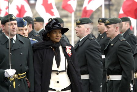 Governor General and Commander-in-Chief of Canada Michaëlle Jean inspects the guard of honour on Parliament Hill in Ottawa on April 4, 2006, before delivering the Speech from the Throne.