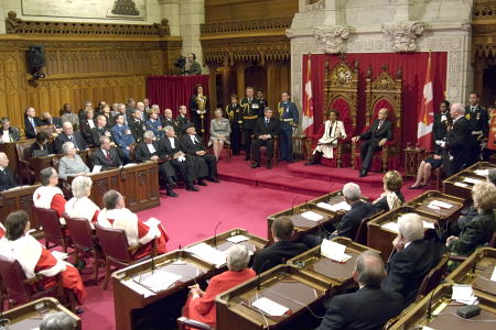 Governor General Michaëlle Jean delivers the Speech from the Throne in the Senate Chamber to open the first session of the 39<sup>th</sup> Parliament of Canada on April 4, 2006.