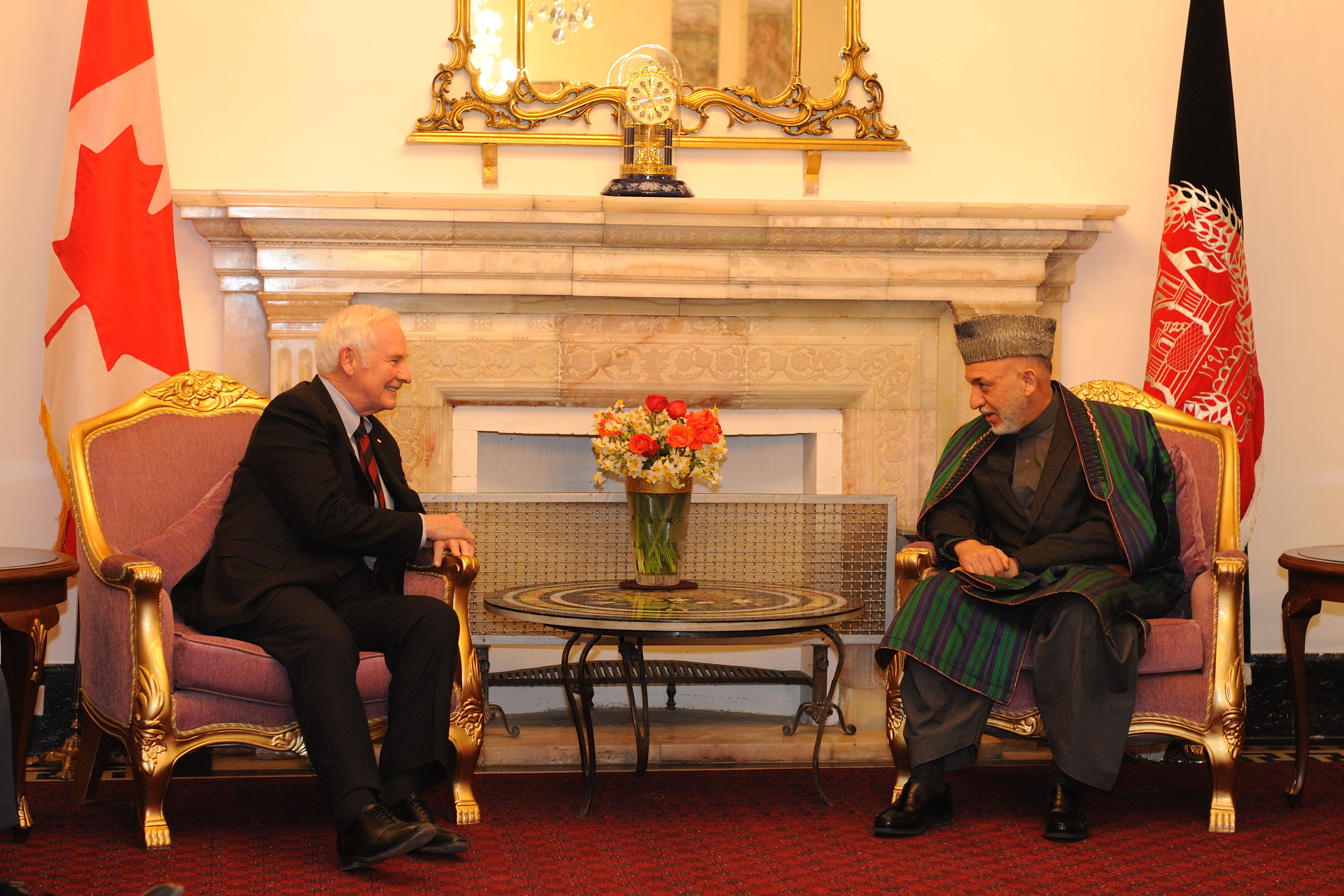 During his meeting with the president of Afghanistan, the Governor General discussed Canada's new engagement strategy in Afghanistan and to recognize Canada's significant investments, but as well as its losses in the country to date.