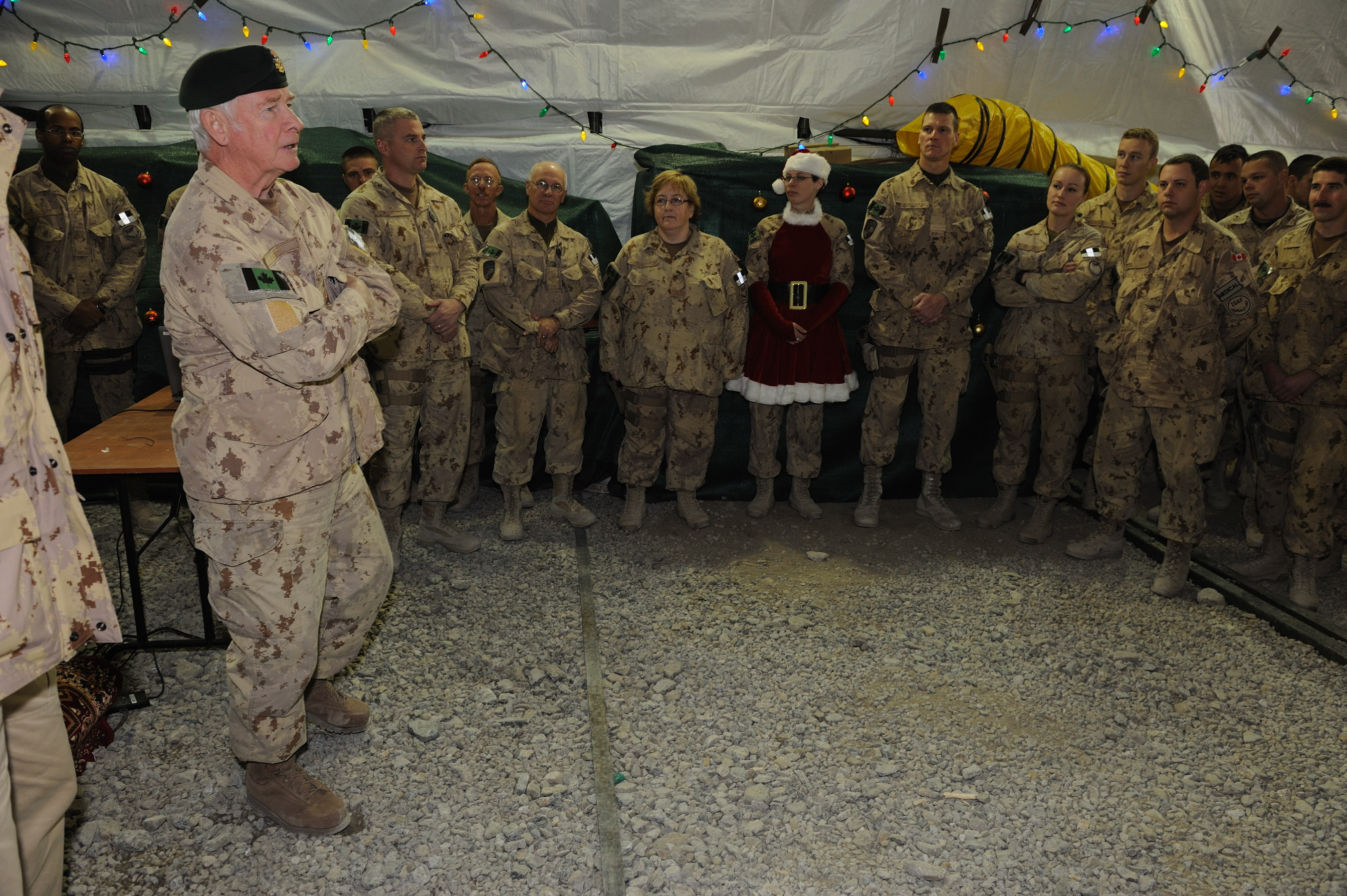 His Excellency spoke with Canadian Forces personnel at Camp Blackhorse in Kabul on December 25, 2011. Approximately 920 Canadian Forces personnel serve in advisory and support roles at training camps and headquarters locations primarily in the Kabul area.