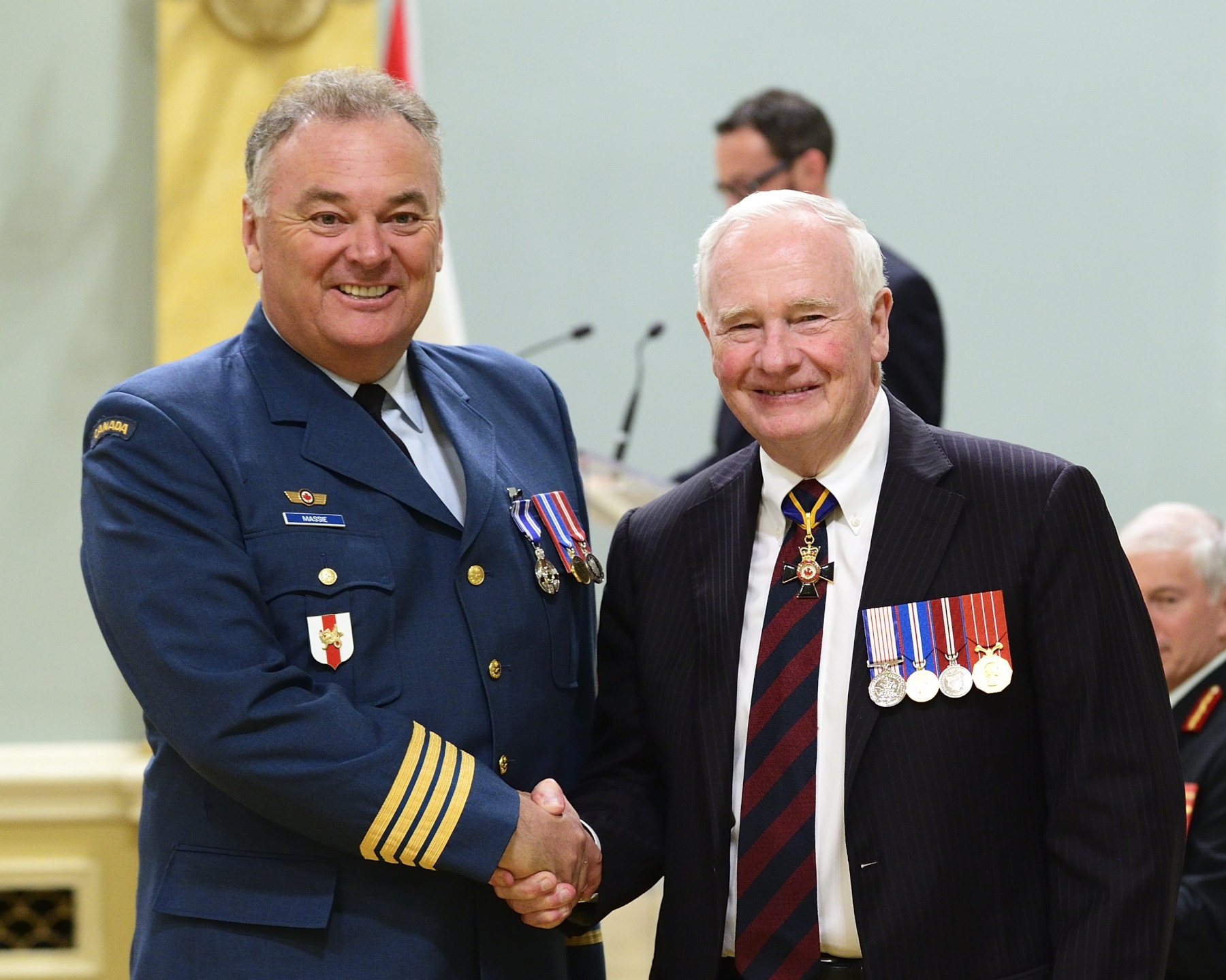 In 2009, Honorary Colonel James Gerald Massie, M.S.M. (Barrie, Ontario) initiated the establishment of the Operation Hero scholarship fund, which has since raised more than $850,000, benefiting military dependants who attend Georgian College. His mentorship inspired creative, collaborative projects where military and civilian personnel worked together for the betterment of their shared communities. Honorary Colonel Massie's energy, professionalism and dedication have benefited the Canadian Armed Forces as well as his local community of Barrie.