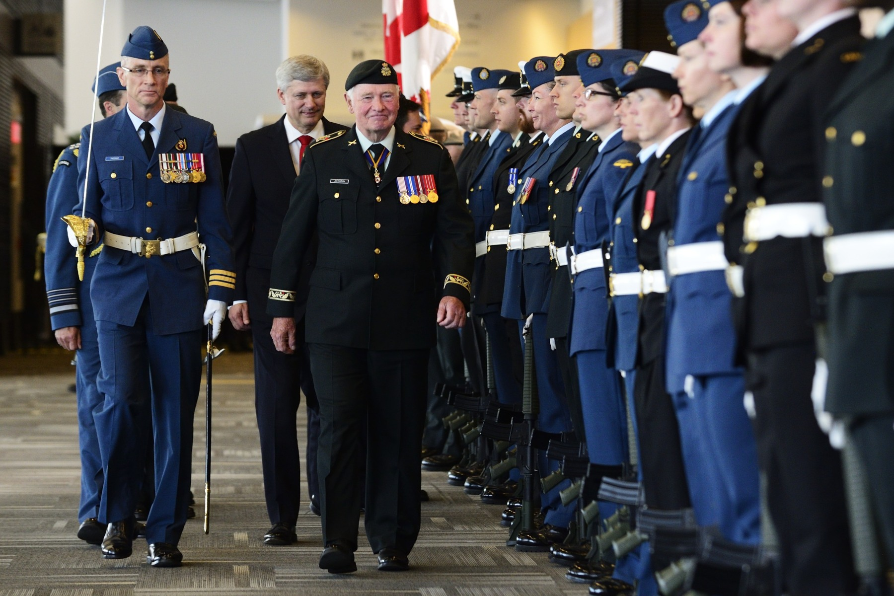 His Excellency conducted the inspection of a 100-member Canadian Armed Forces guard of honour.