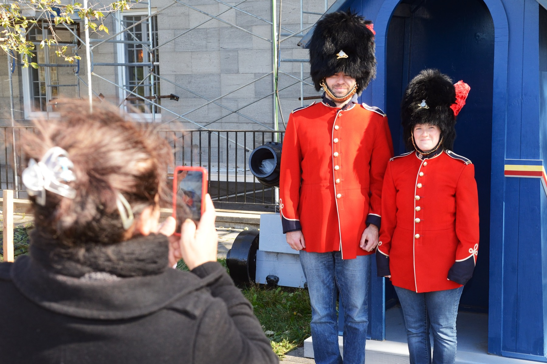 Visitors could try on the renowned red tunic and bearskin hat of the Royal 22e Régiment and snap a photo.