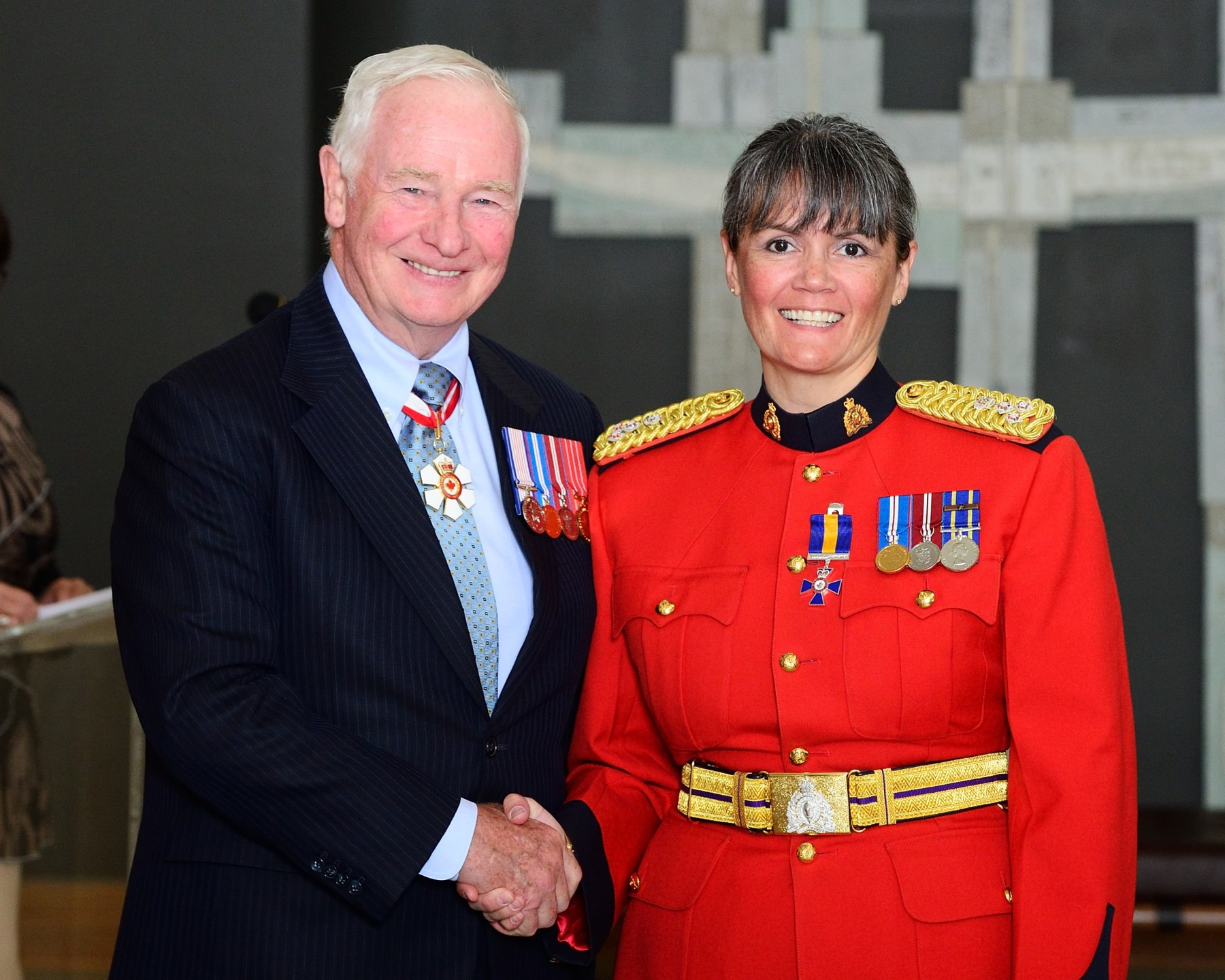 The Governor General presented the Order at the Member level to Assistant Commissioner Brenda Butterworth-Carr, M.O.M., Royal Canadian Mounted Police, Regina, Saskatchewan.