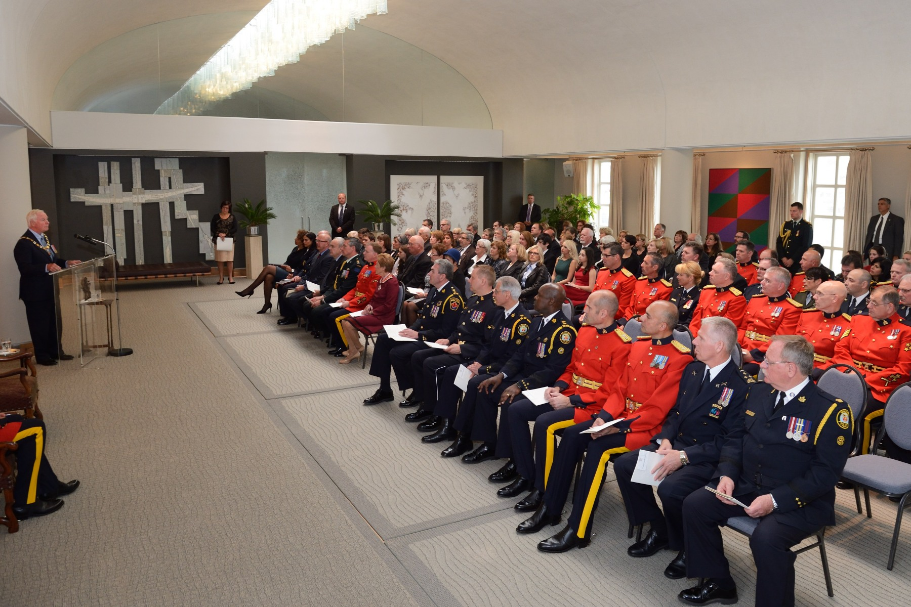 An Order of Merit of the Police Forces investiture ceremony was held in the afternoon. The Order was created in 2000, to recognize conspicuous merit and exceptional service by members and employees of Canadian police forces whose contributions extend beyond protection of the community.