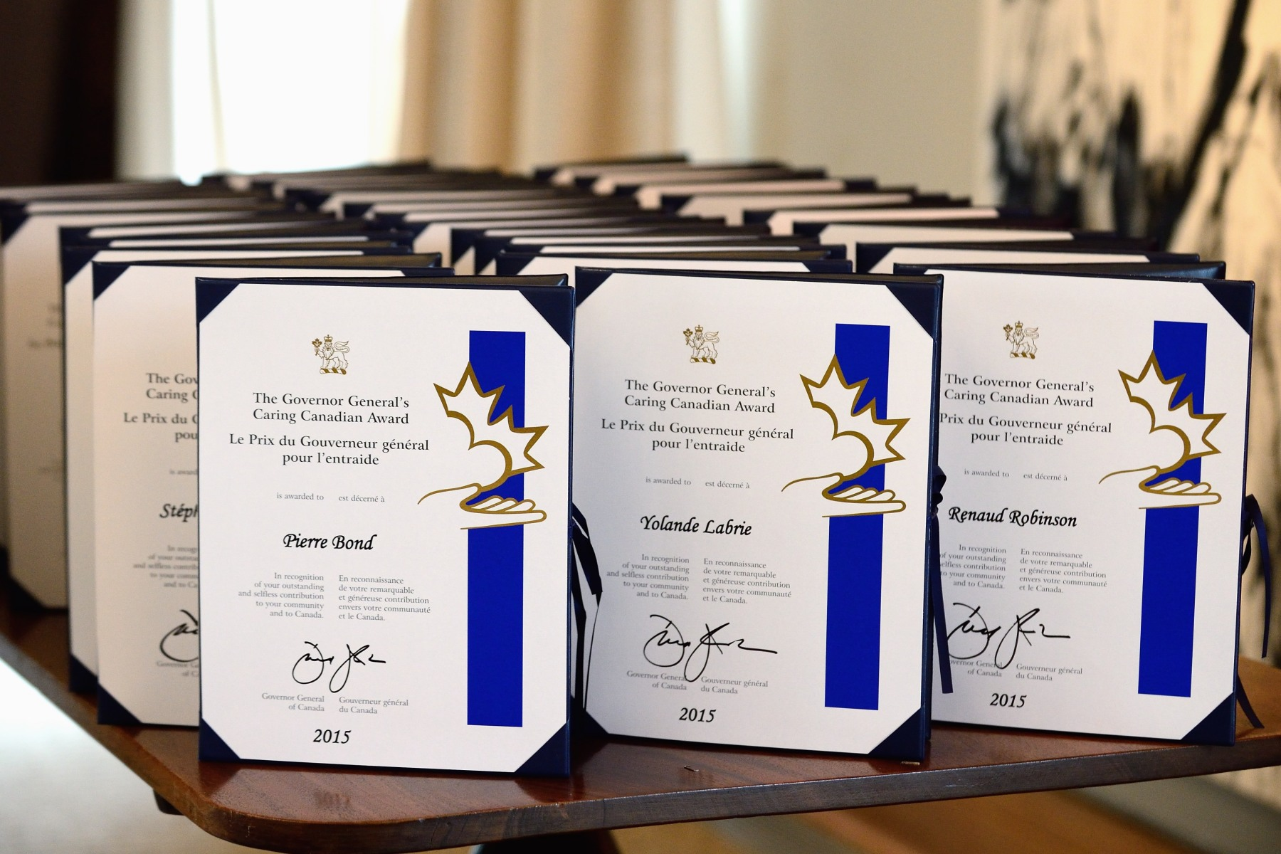 The Governor General presented the Governor General's Caring Canadian Award to 30 volunteers from various sectors of society, during a ceremony at the Residence of the Governor General at the Citadelle of Québec.