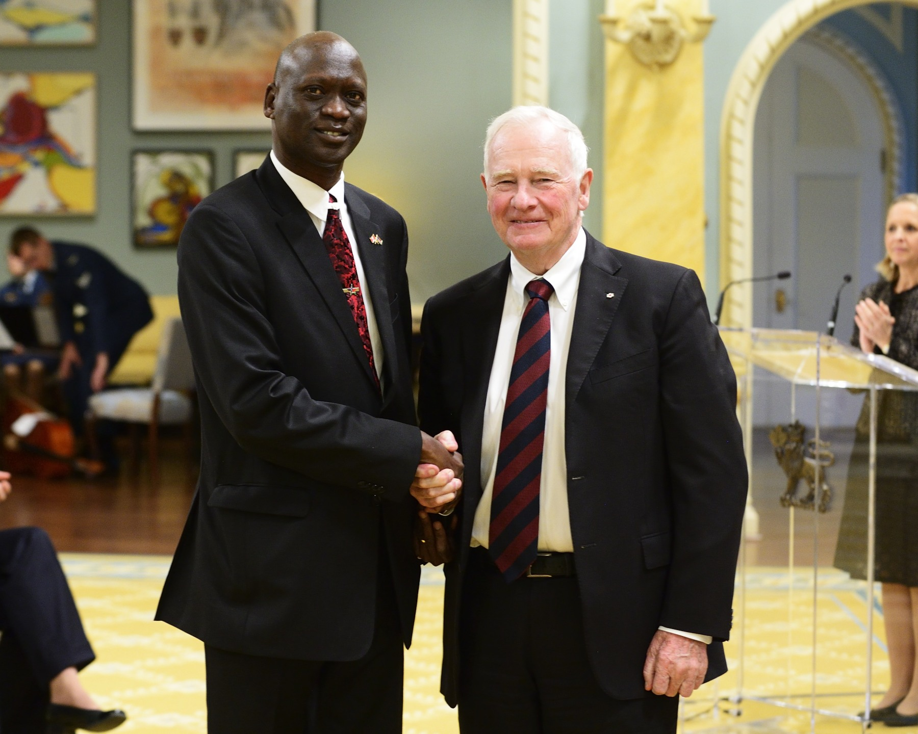 His Excellency Garang Diing Akuong, Ambassador of the Republic of South Sudan was the last one to present his letters of credence to the Governor General.