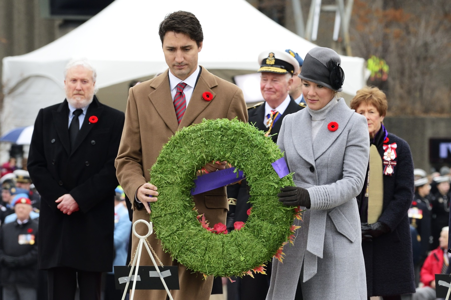 Prime Minister Trudeau and his spouse Mrs. Sophie Grégoire-Trudeau laid a wreath on behalf of the government of Canada.