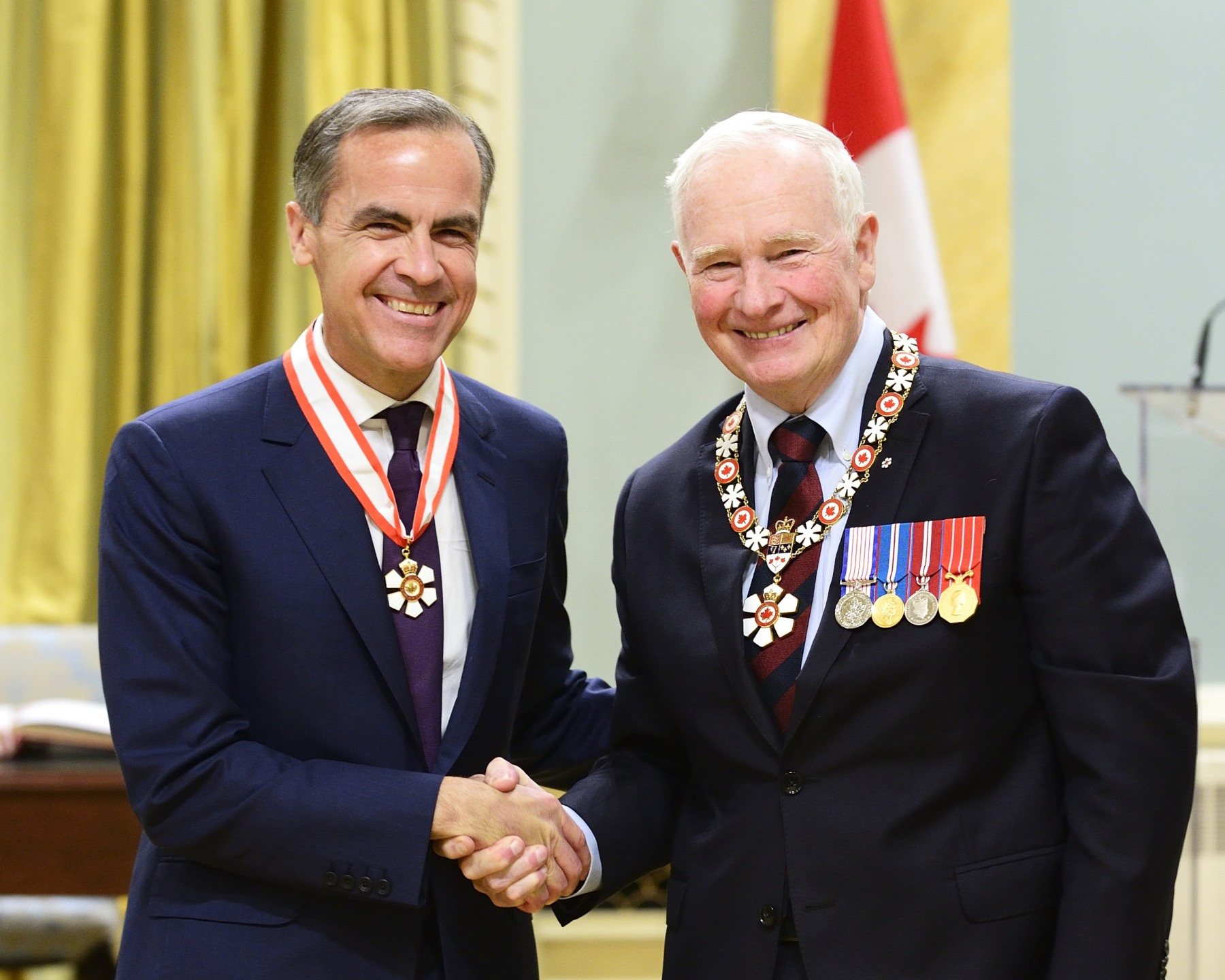 Mark Carney, O.C. (London, United Kingdom and Ottawa, Ontario) is a leader in the development of monetary and financial-sector policies in Canada and around the world. Dedicated to the public good, he left a successful career in the financial industry to answer the call to public service, ascending to the position of governor of the Bank of Canada. In this role, he was one of the key players in steering the Canadian economy through the global economic crisis, championing clear communication and predictability. His distinguished leadership led to his appointment as chair of the Financial Stability Board and as governor of the Bank of England, the first non-Briton to be appointed to the position.