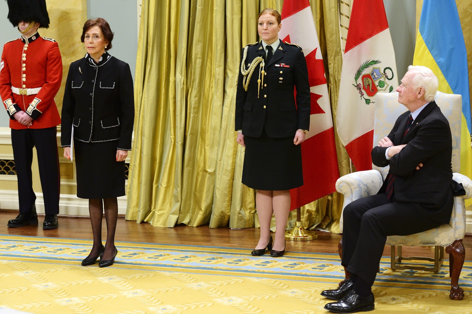 Her Excellency Marcela López Bravo Ambassador of the Republic of Peru was the first to present her letters of credence to the Governor General.