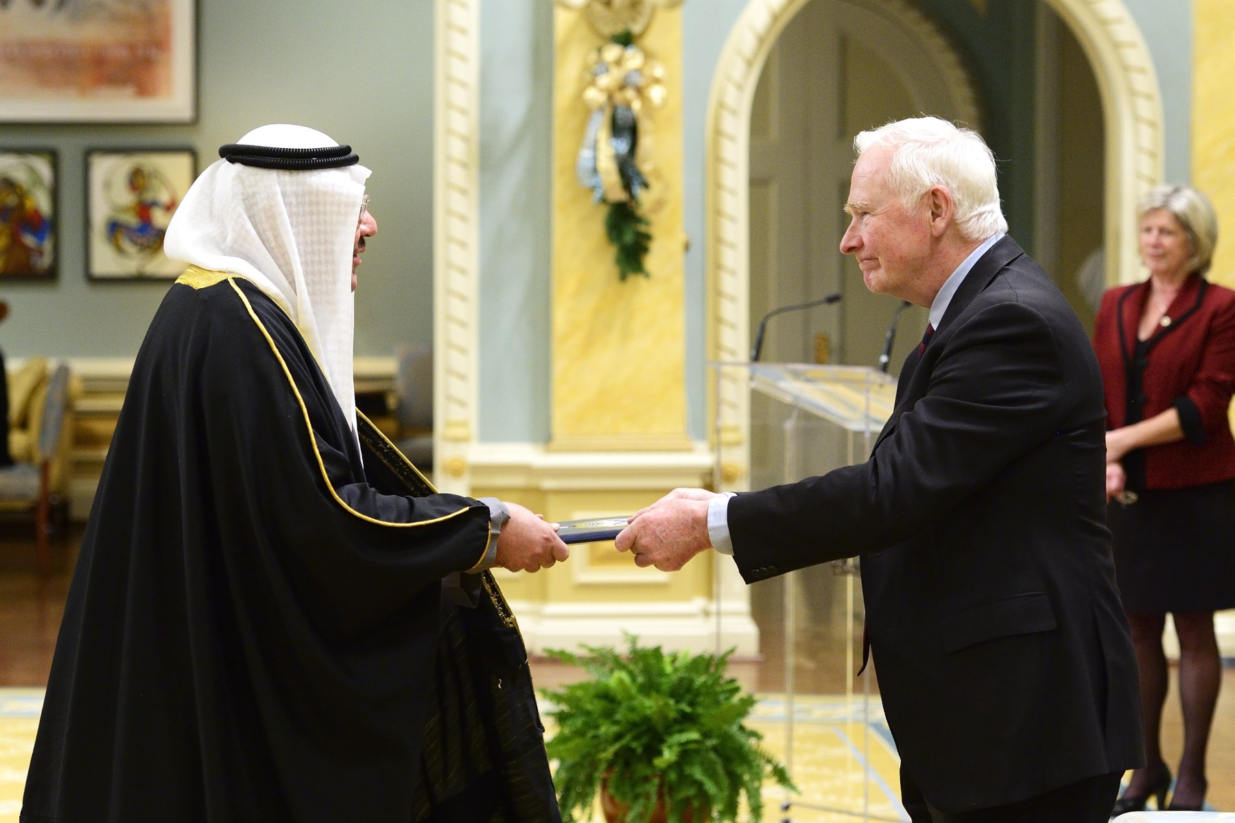 His Excellency Abdulhamid Alfailakawi Ambassador of the State of Kuwait was the last one to present his letters of credence to the Governor General.
