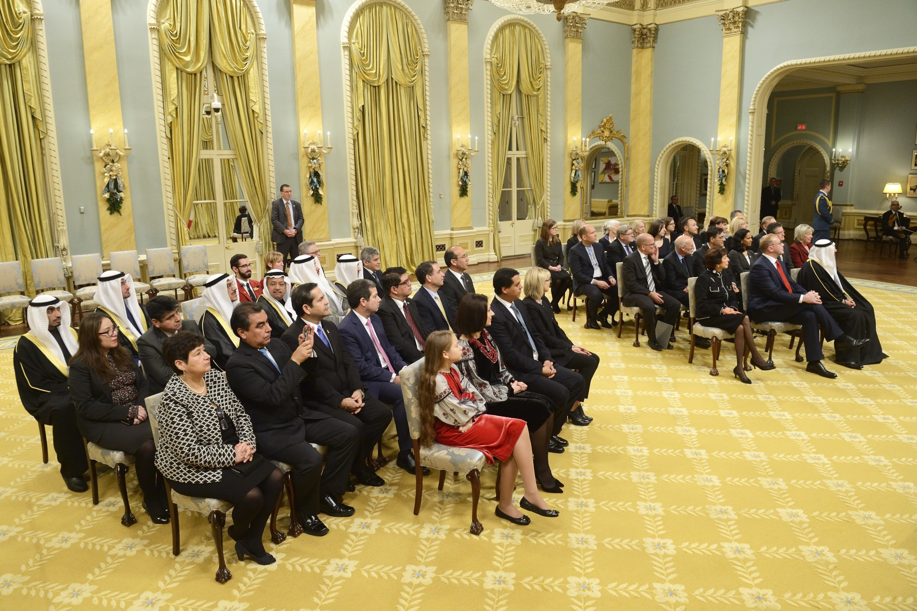 His Excellency the Right Honourable David Johnston, Governor General of Canada, received the letters of credence of three new heads of mission during a ceremony at Rideau Hall on December 12, 2015.