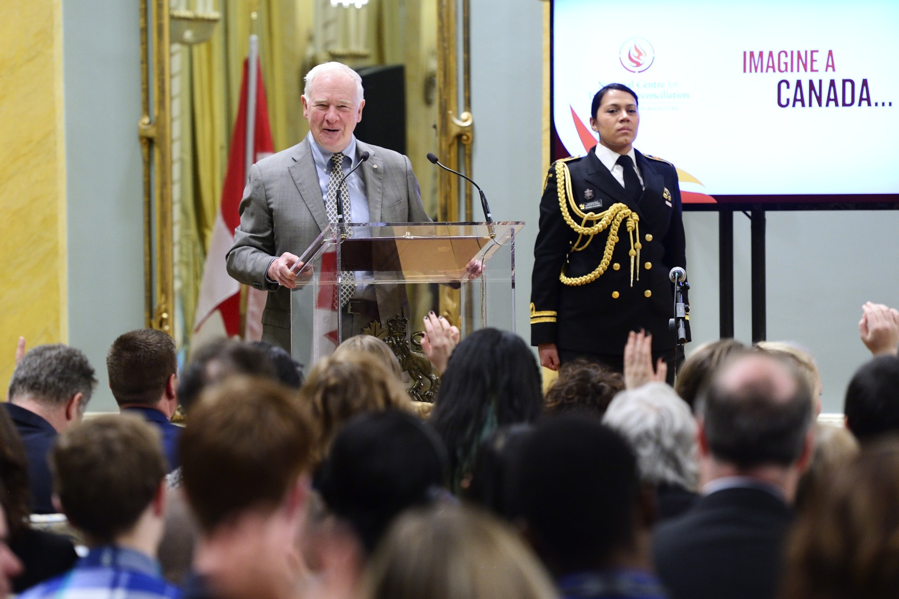 "The Governor General provided opening remarks. ""Talking, and listening, and sharing, and dreaming together — that's how we'll heal, and that's how we'll move towards reconciliation."""