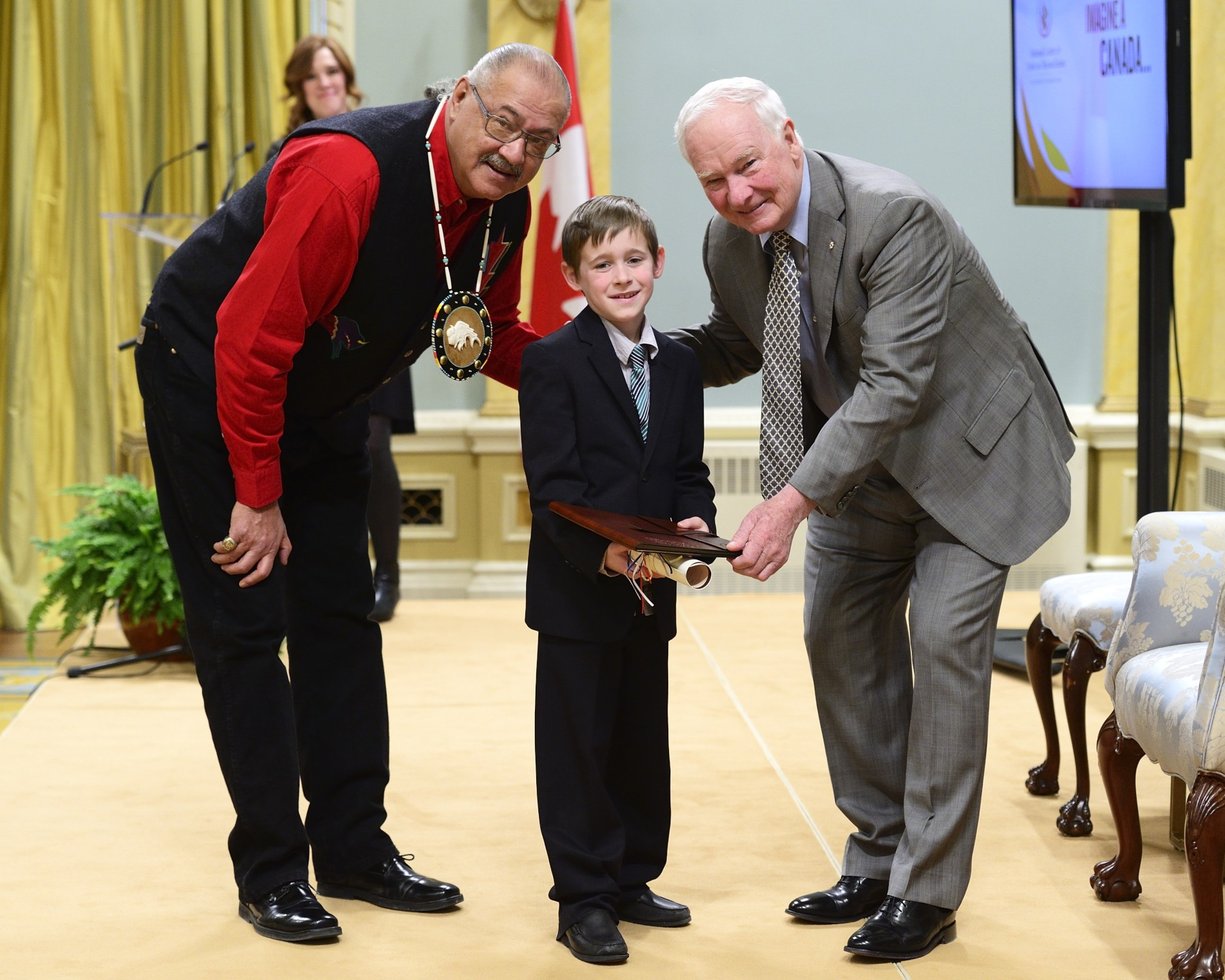 The Governor General and Mr. Arcand offered warm congratulations to Josiah Ferguson, a grade 3 student from Langley, British Columbia.