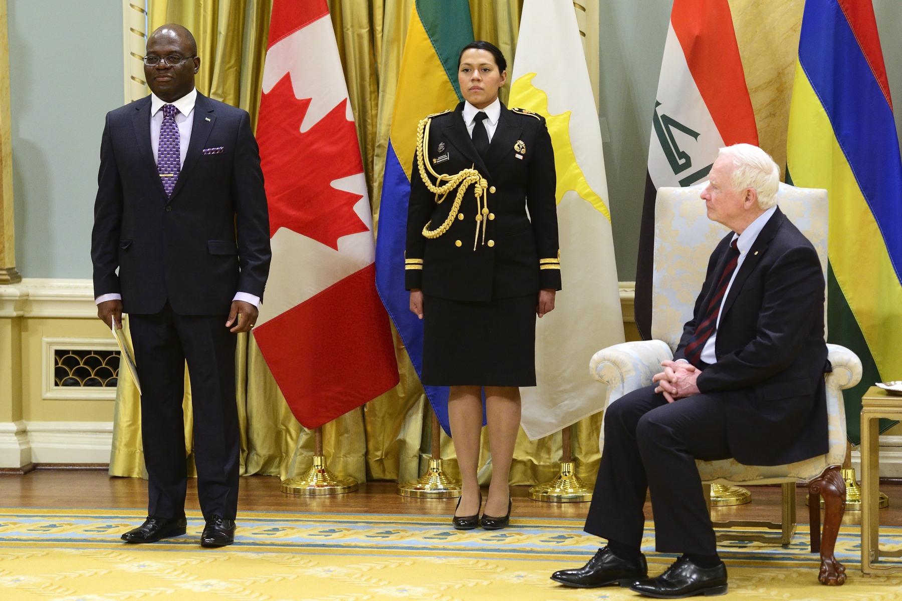 His Excellency Sosthène Ngokila, Ambassador of the Gabonese Republic, was the first to present his letters of credence to the Governor General.