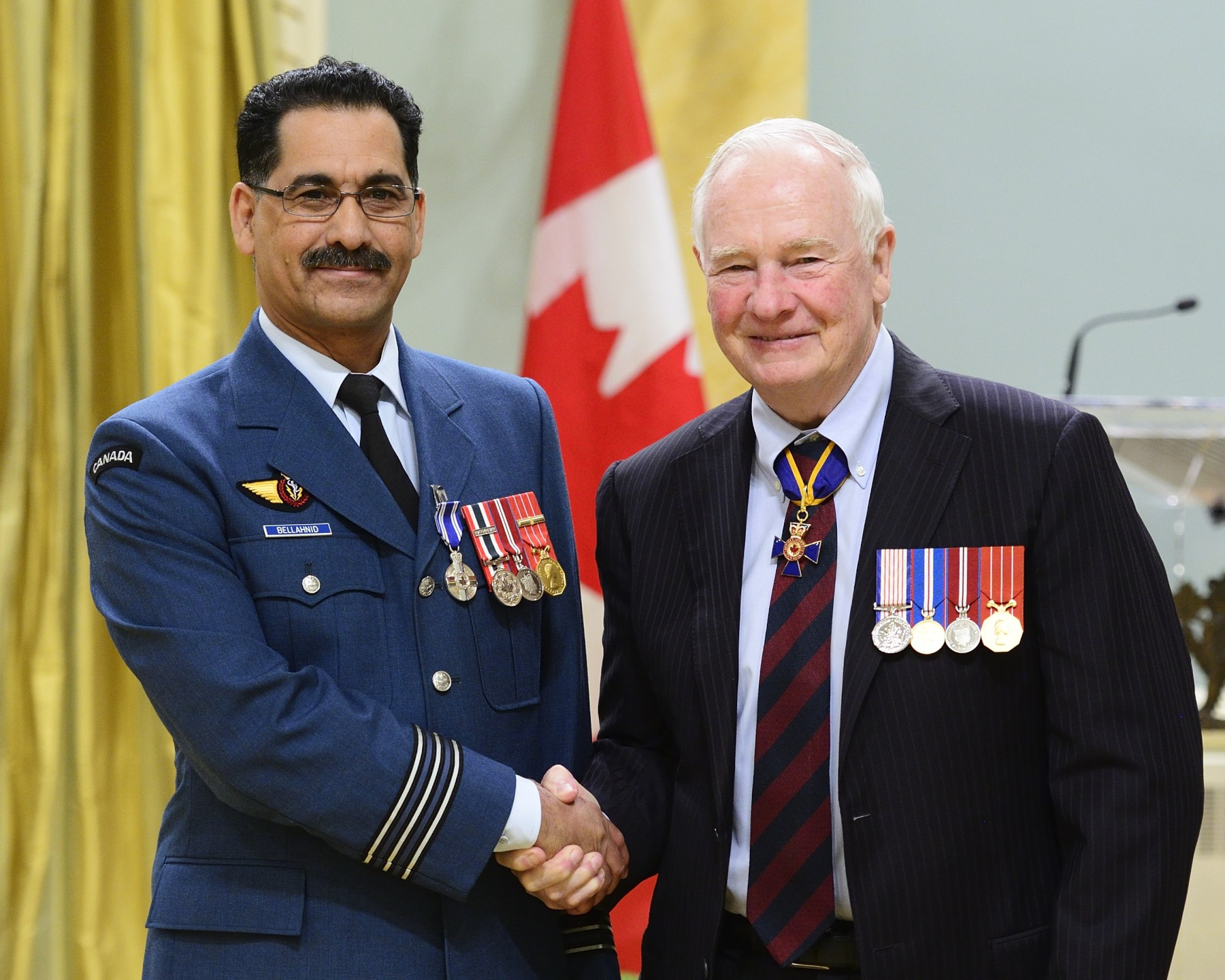 From 2008 to 2014, Lieutenant-Colonel Abderrahim Bellahnid, M.S.M., C.D. demonstrated outstanding leadership and technical knowledge as director of Project MERCURY GLOBAL, which aims to improve wideband satellite communication capacity. He successfully led a team of specialists during negotiations with the United States Air Force, under tight deadlines, to allow Canada's participation in initiatives related to the wideband global satellite communications system. Lieutenant-Colonel Bellahnid's professionalism brought great honour to the Canadian Armed Forces and to Canada.