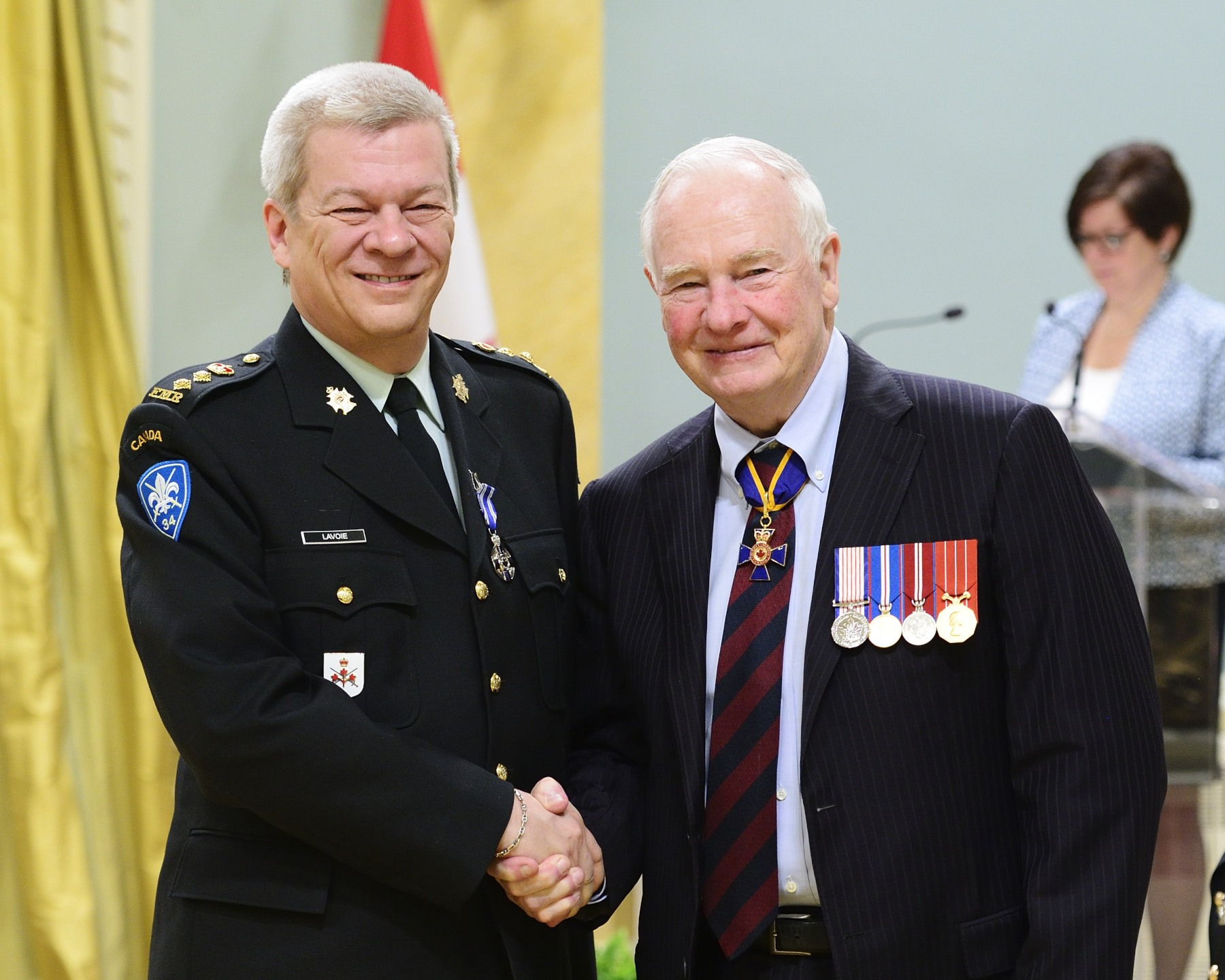 From January 2013 to October 2014, Honorary Lieutenant-Colonel Joseph Luc Lavoie, M.S.M. was actively involved in planning and orchestrating the media campaign and commemorative events marking the Royal 22e Régiment's centennial. He demonstrated outstanding leadership in creating the winning conditions in which to showcase the Canadian Armed Forces provincially, nationally and internationally as never before.