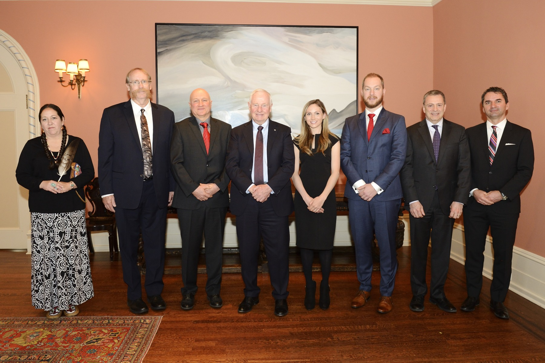 The 2016 Governor General Awards winners: Christi Belcourt, Robert Burrell, Jeff Dahn, Breanne Everett, Kinova (represented by Charles Deguire), Mark Torchia and Richard Tyc.