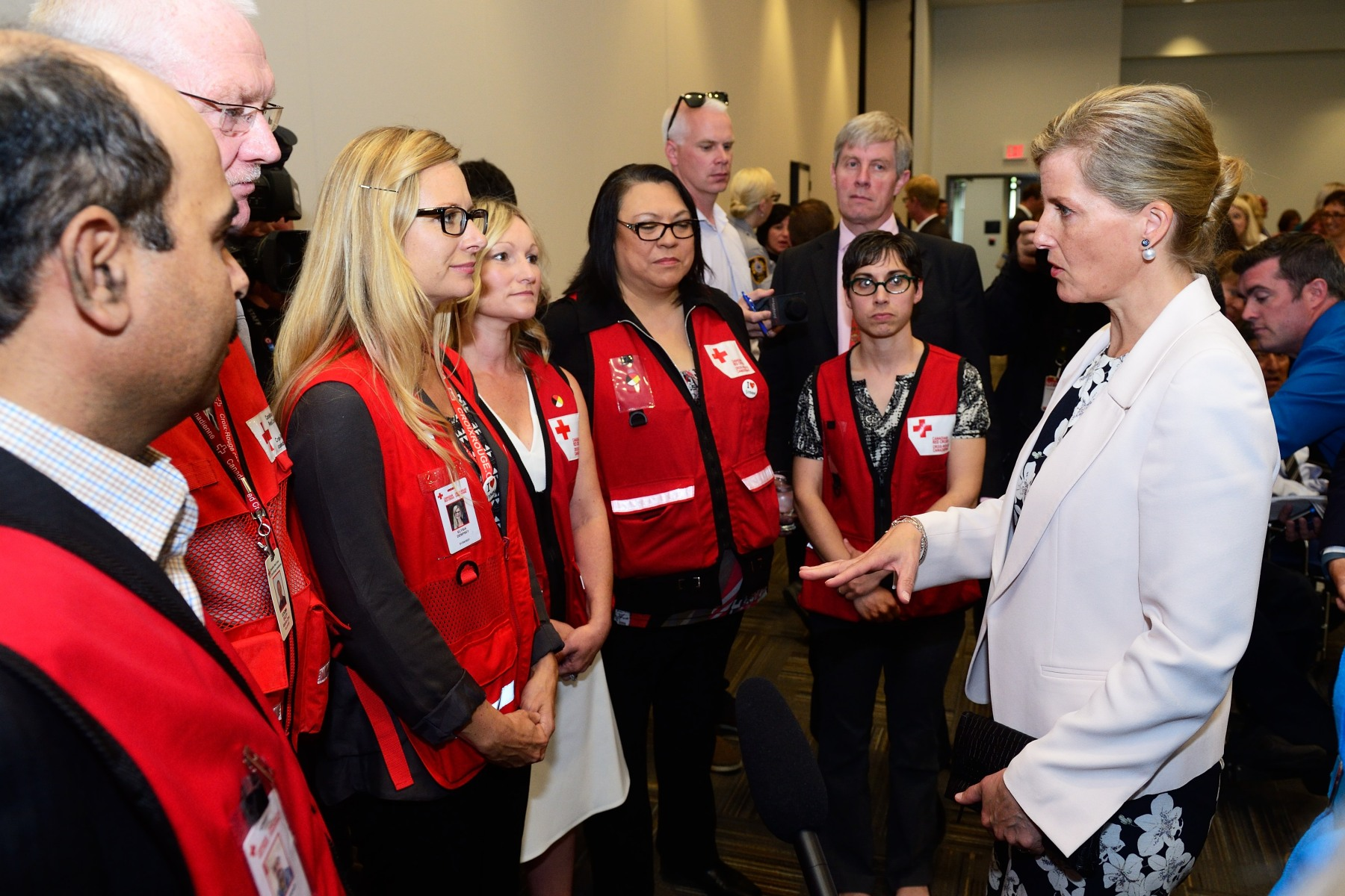 Her Royal Highness spent time speaking with representatives from the Red Cross.