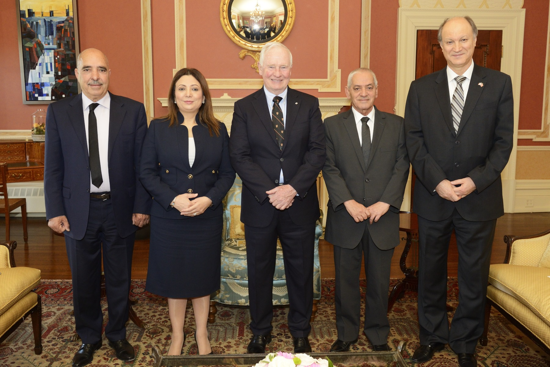 The Governor General joined by the representatives of the Quartet and His Excellency Riadh Essid,  Ambassador of the Republic of Tunisia in Canada (far right).