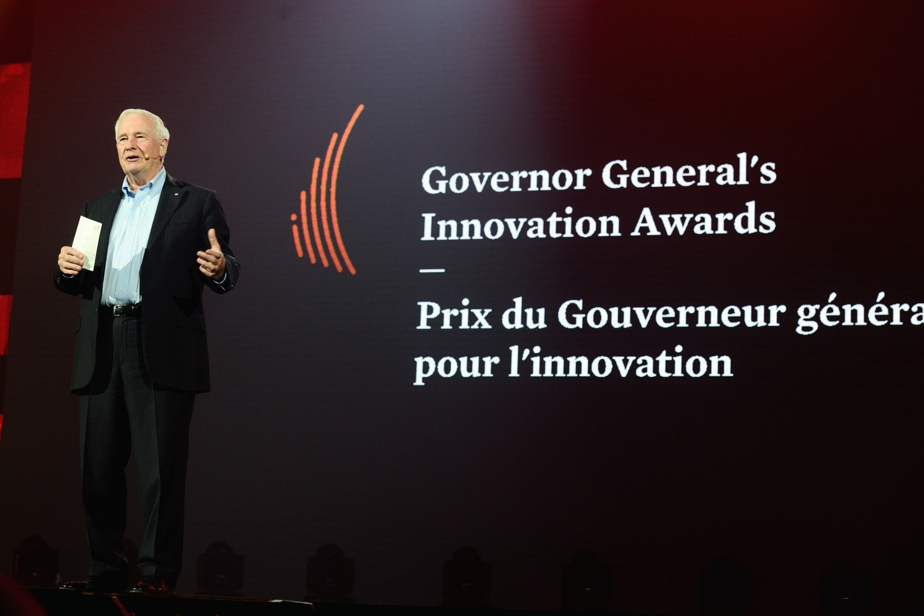 While on stage, His Excellency also had the opportunity to talk about the inaugural presentation of the Governor General's Innovation Awards that took place at Rideau Hall on May 19.