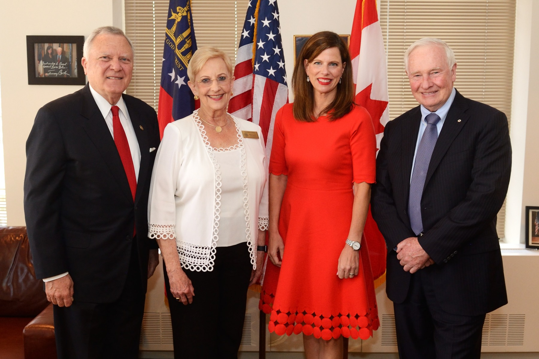 On the occasion of his visit to Atlanta, His Excellency met with the Honourable Nathan Deal, Governor of Georgia (far left), and his wife Mrs. Sandra Dunagan. The meeting was hosted by Mrs. Louise Blais, Consul General of Canada in Atlanta (right), on May 24, 2016.
