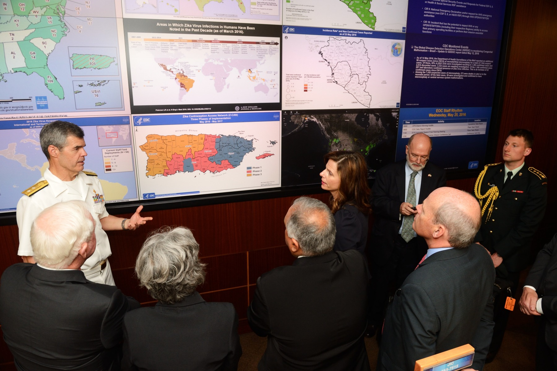 The visit concluded with a tour of CDC's Emergency Operations Center, which collaborated closely with PHAC during the Ebola outbreak to inform Canadians of research and medical prevention measures that required implementation.