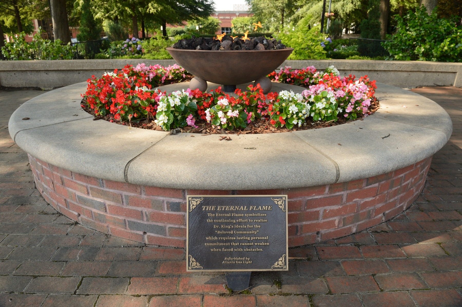 "Directly across from the crypt is The Eternal Flame. It symbolizes the continuing effort to realize Dr. King's dream of the ""Beloved Community"", which was his vision for a world of justice, peace and equality for all mankind."