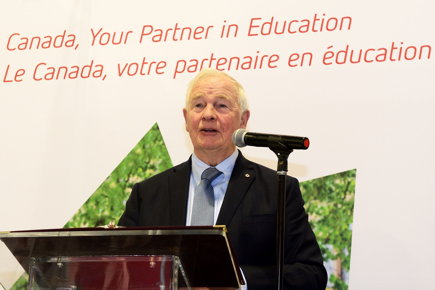 For the inauguration of the Canada Pavilion, he delivered remarks. The Pavilion acts as a window on Canadian education and a meeting space for Canadian representatives from all provinces.