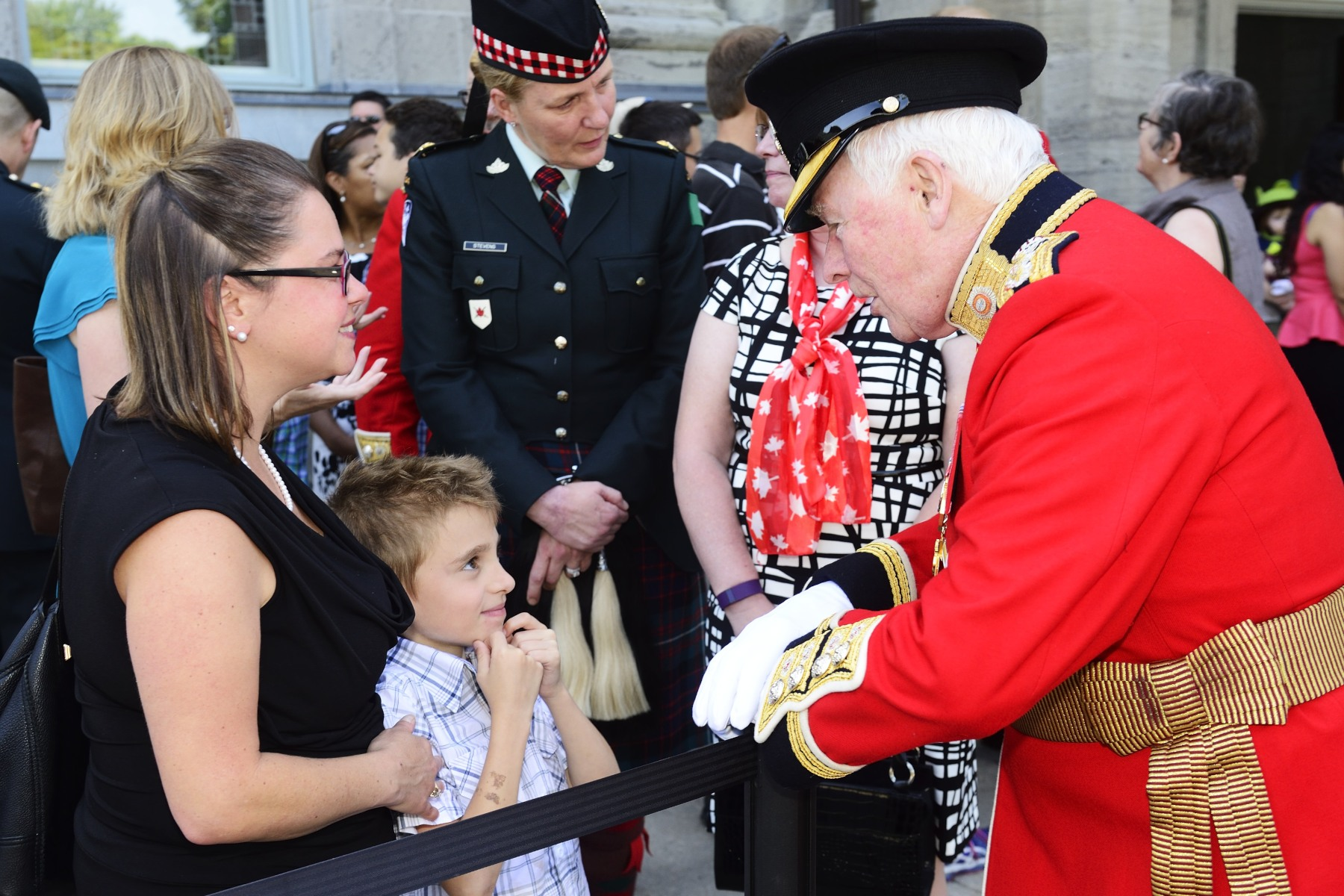 The Governor General took a moment to talk with family members who attended the event.