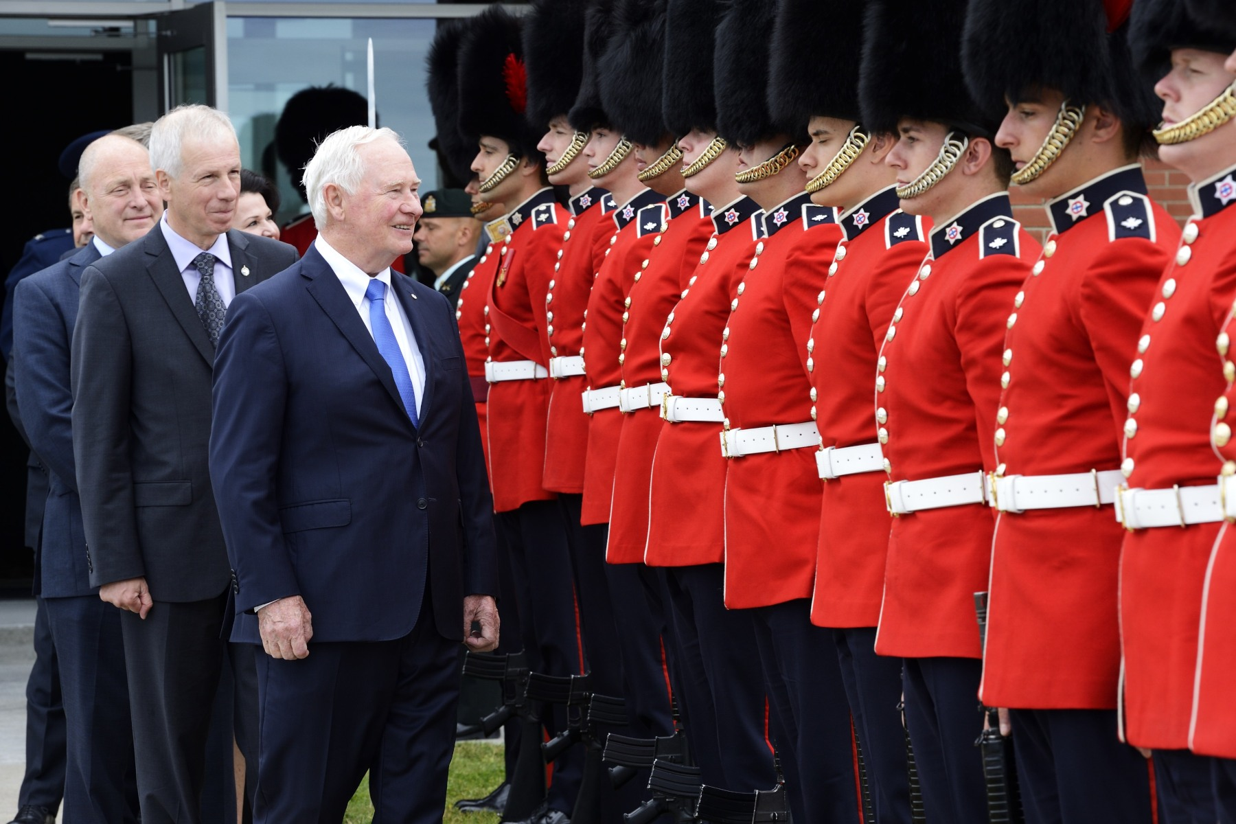 The Governor General inspected the guard of honour and spoke with some of its members.