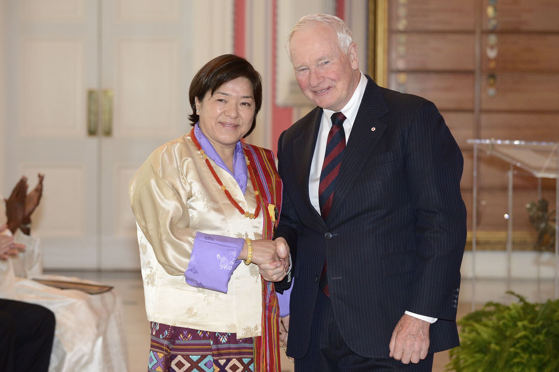Her Excellency Kunzang C. Namgyel, Ambassador of the Kingdom of Bhutan, also presented her letters of credence.