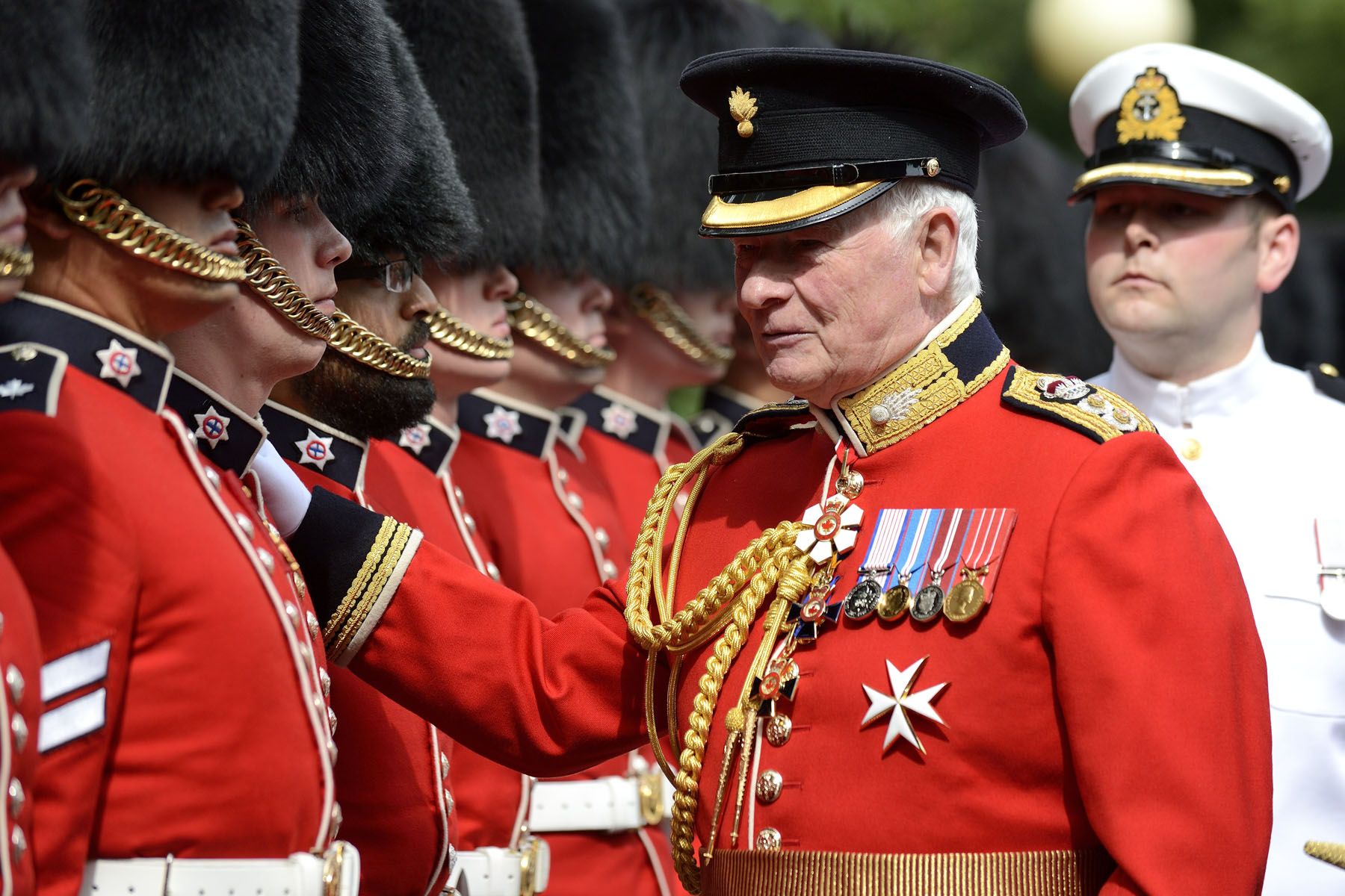 The Governor General inspects the Ceremonial Guard.
