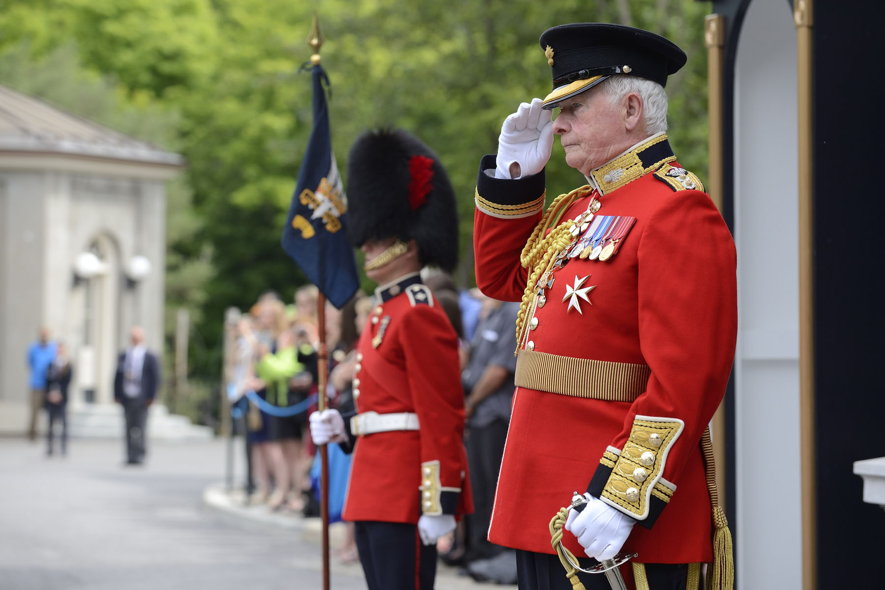 """I'm always impressed by the strength and endurance of the Ceremonial Guard,"" declared His Excellency. ""The sheer will it takes to stand outside, in the harsh sun or the driving rain, and to do so without losing your composure is remarkable. It certainly impresses the thousands of visitors who come to Rideau Hall! People leave here with a greater appreciation for what you and your comrades do for our country each and every day."""