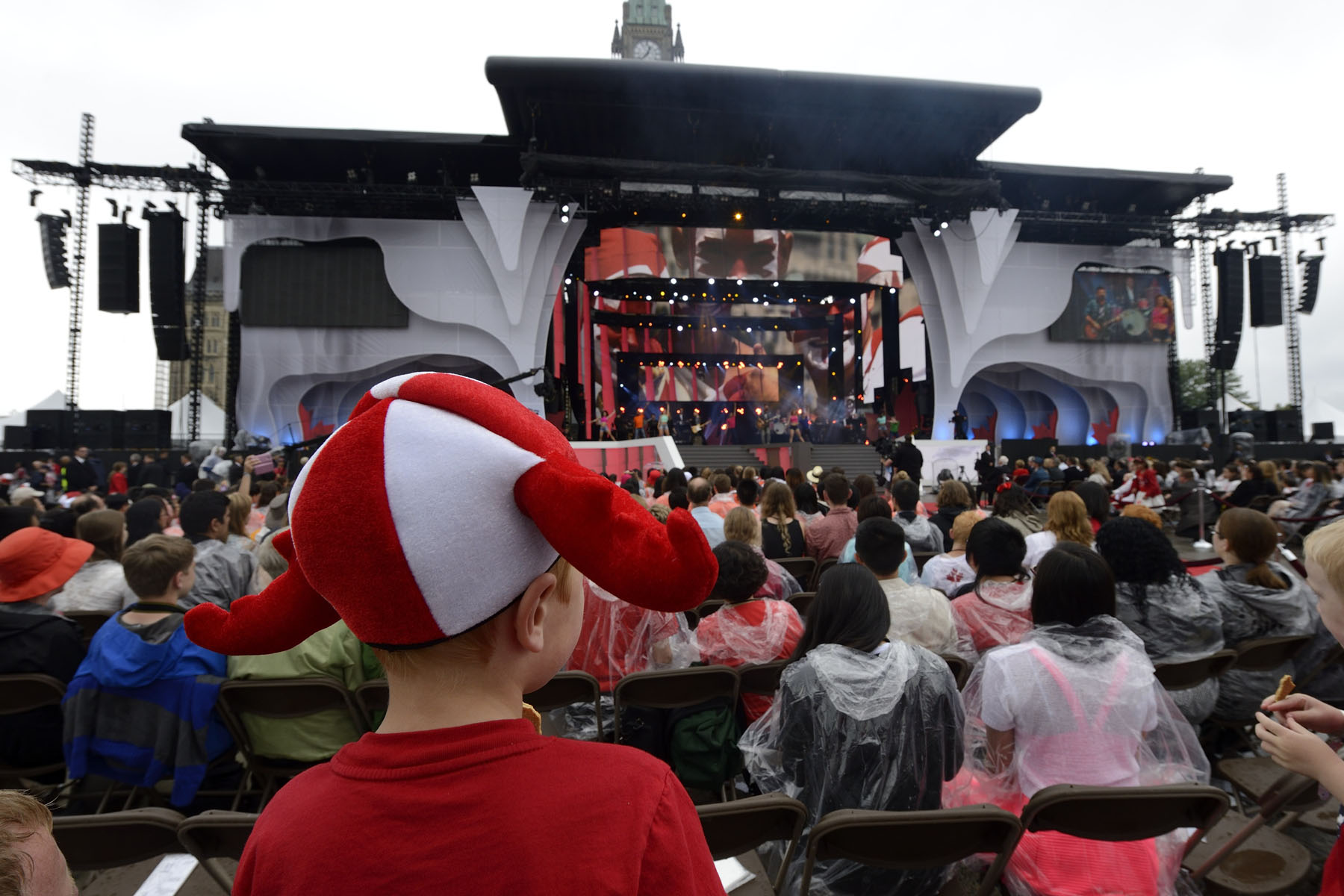 The stage for Canada Day noon and evening shows on Parliament Hill.