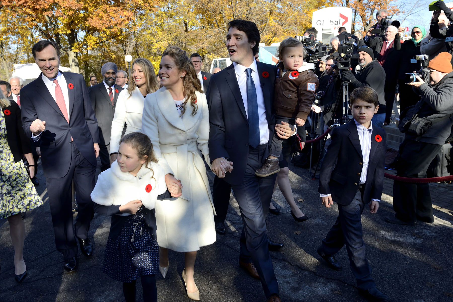 Mr. Trudeau and Mrs. Grégoire-Trudeau were joined by their three children.