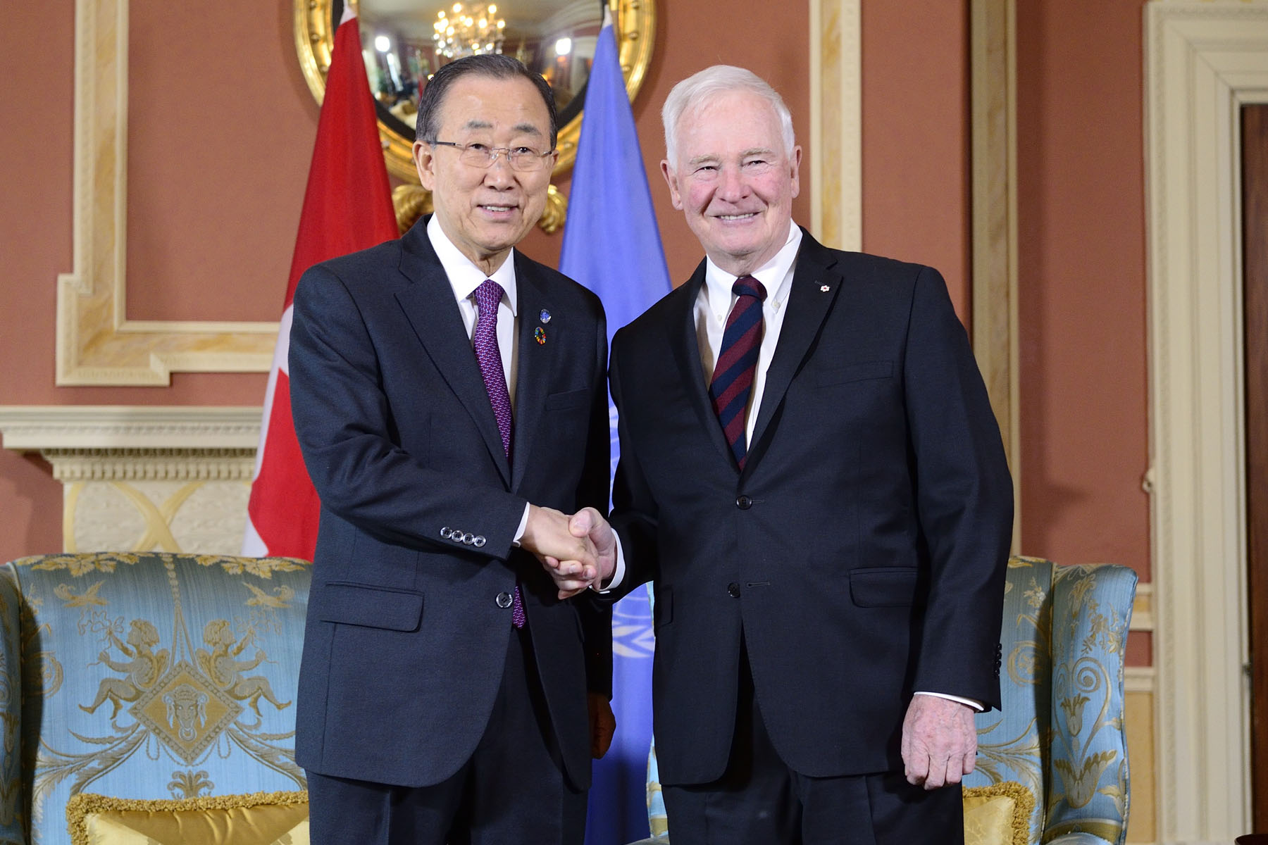 On February 12, 2016, His Excellency the Right Honourable David Johnston, Governor General of Canada, welcomed His Excellency Ban Ki-moon, United Nations Secretary-General, at Rideau Hall.
