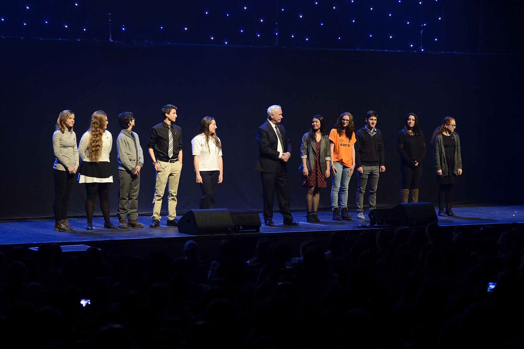 "He was joined on stage by the 10 Caring Canadian Award recipients. ""These young people promote fair trade, protect our environment and volunteer in soup kitchens. Some are involved in the arts, organize clothing drives or care for stray animals. Their talent, time and energy are precious gifts!"""