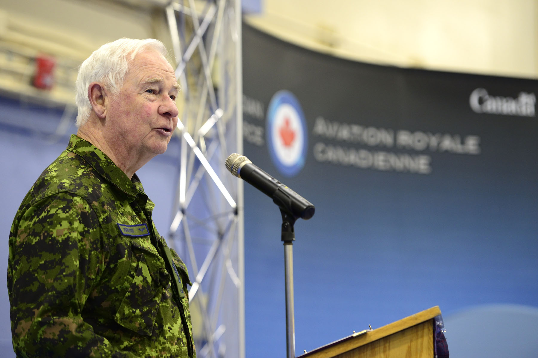 "Upon arrival, His Excellency delivered remarks to 22 Wing's Defence Team. ""NORAD plays such an important role in maintaining North American security. And for many years, your collaboration has stood as proof of how well Canada and the United States work together,"" said the Governor General."