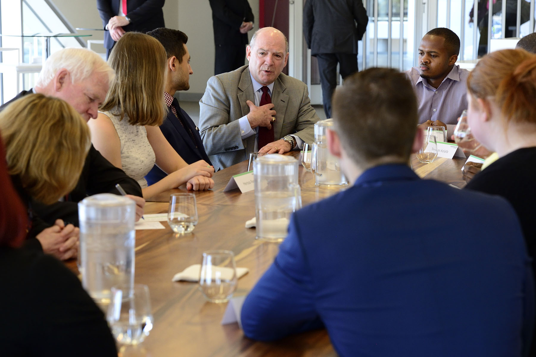 Scott Haldane, President and CEO of the Rideau Hall Foundation, participated in the round-table discussion and told students he was encouraged by their many initiatives.