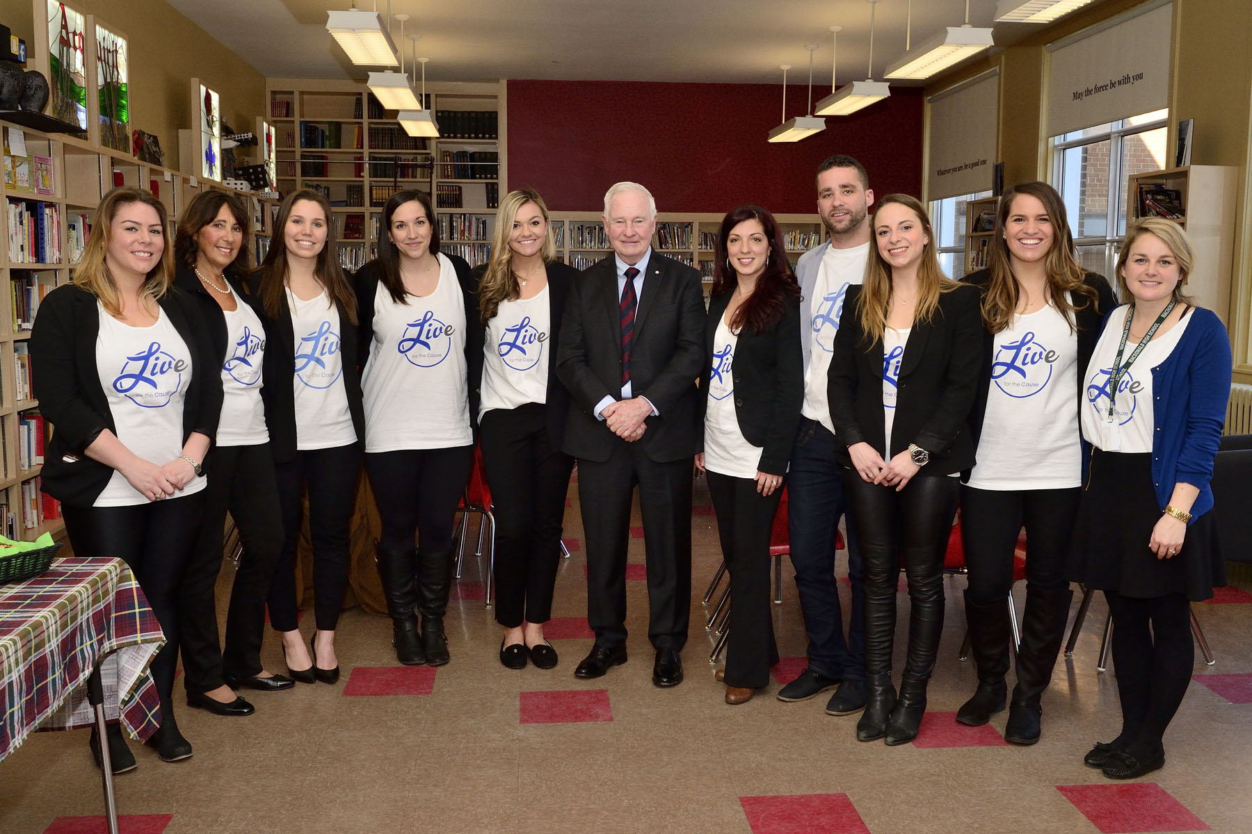 His Excellency the Right Honourable David Johnston, Governor General of Canada, met with volunteers from Live for the Cause, a foundation dedicated to engaging people of all ages on the importance of volunteering and philanthropy.