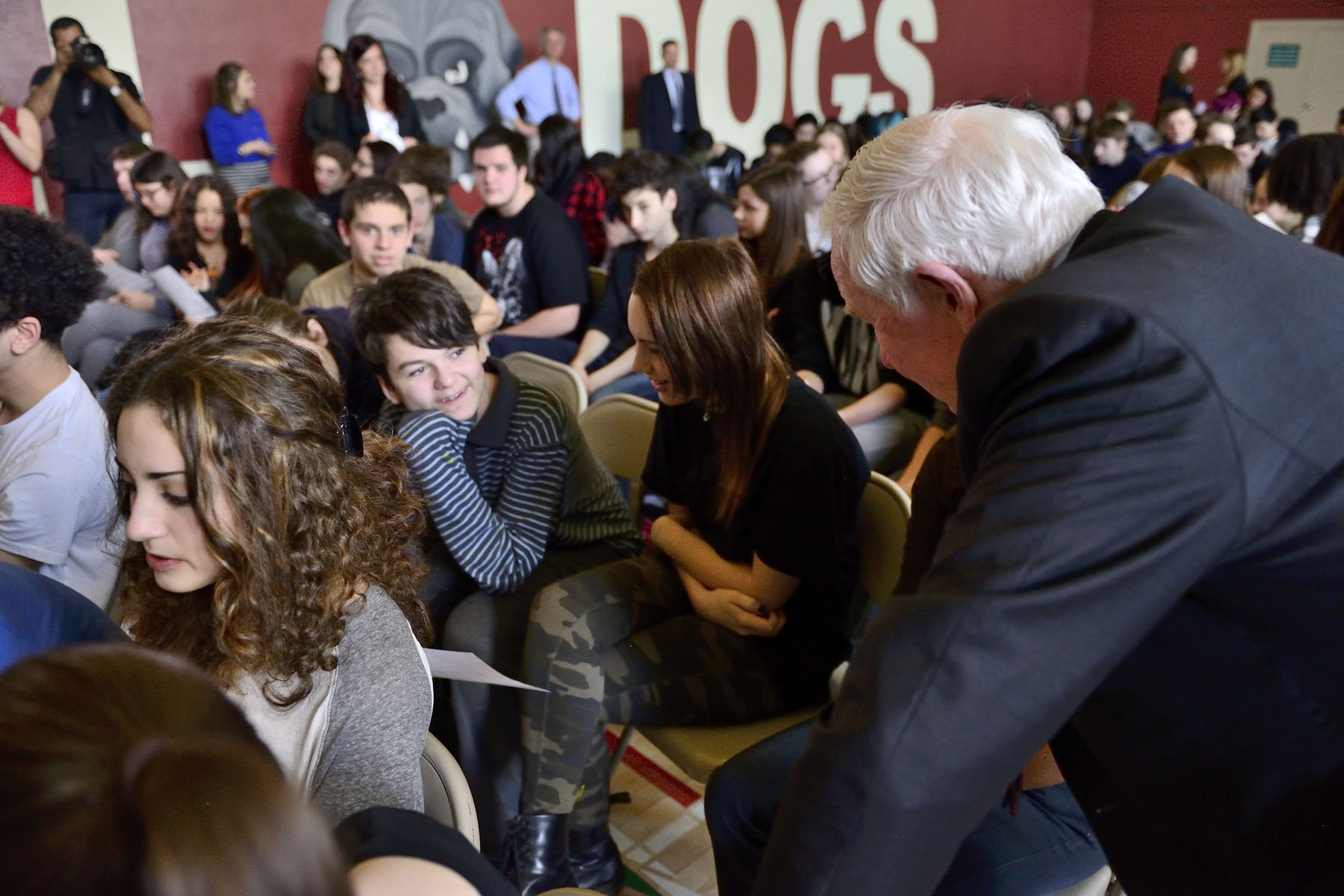 While students developed their ideas for a community event, the Governor General engaged with students to help stimulate discussion.