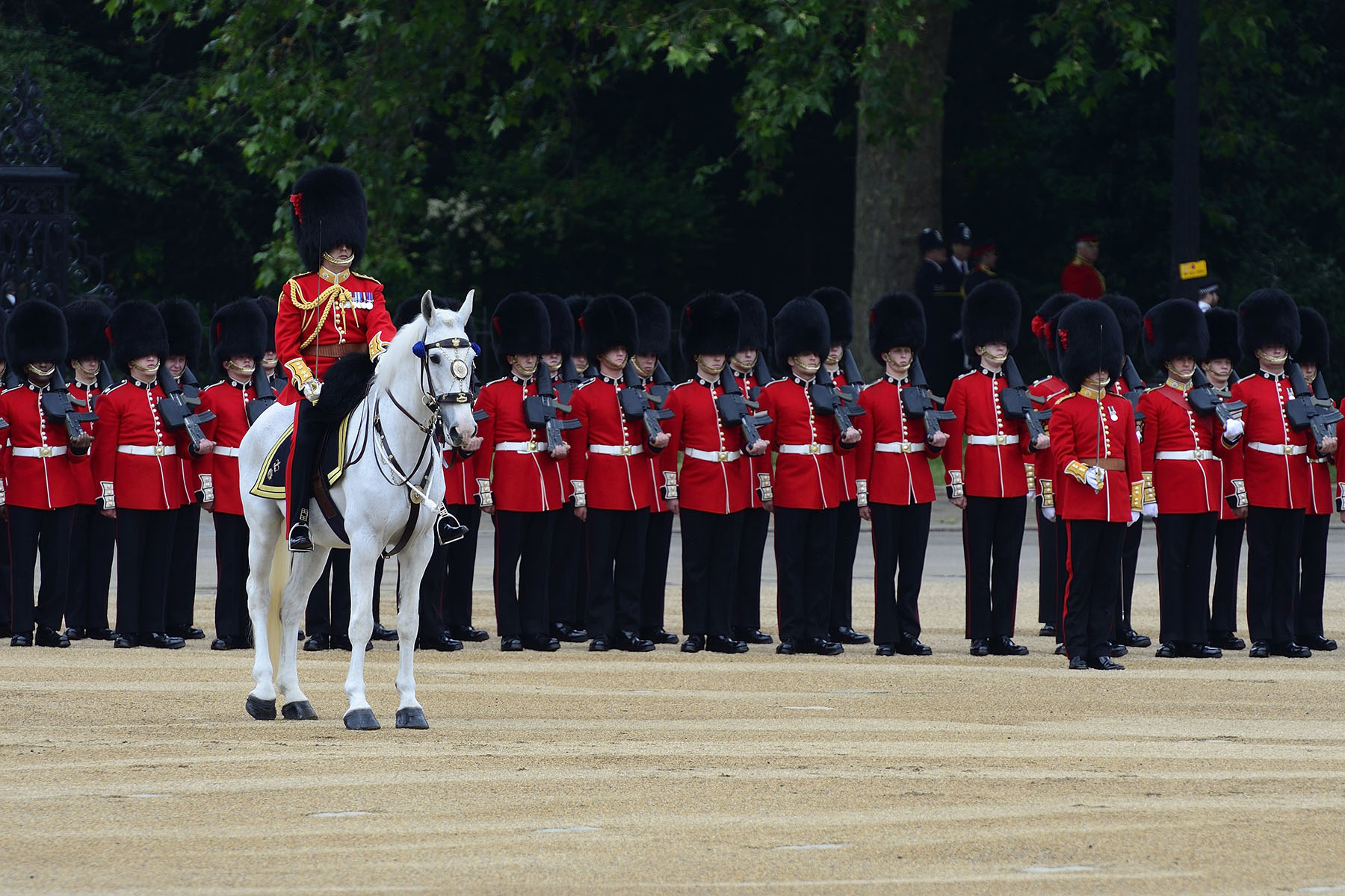 One foot guard regiment is selected each year to troop their colour at the Birthday Parade.