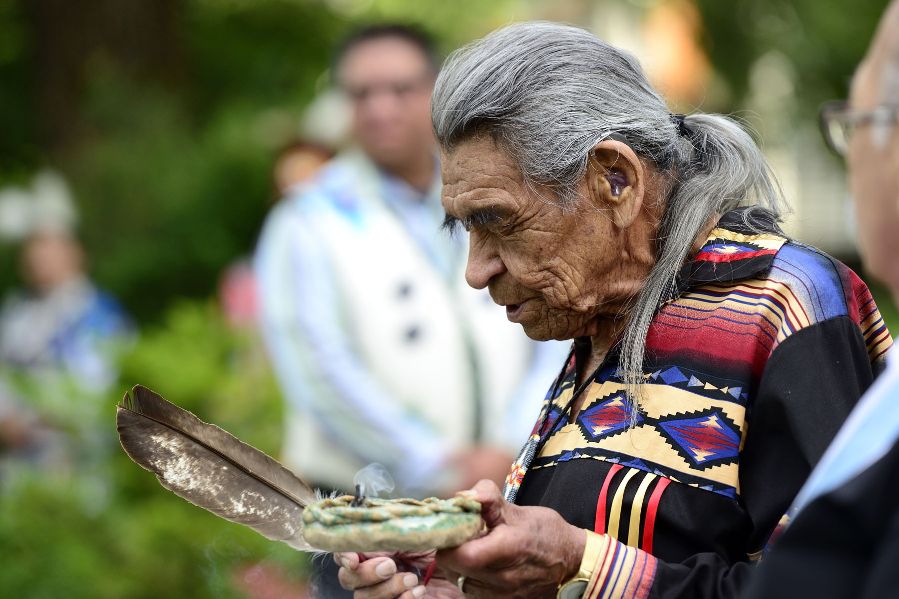 Everyone took part in a Mi'kmaq smudging ceremony in the back garden of Government House.