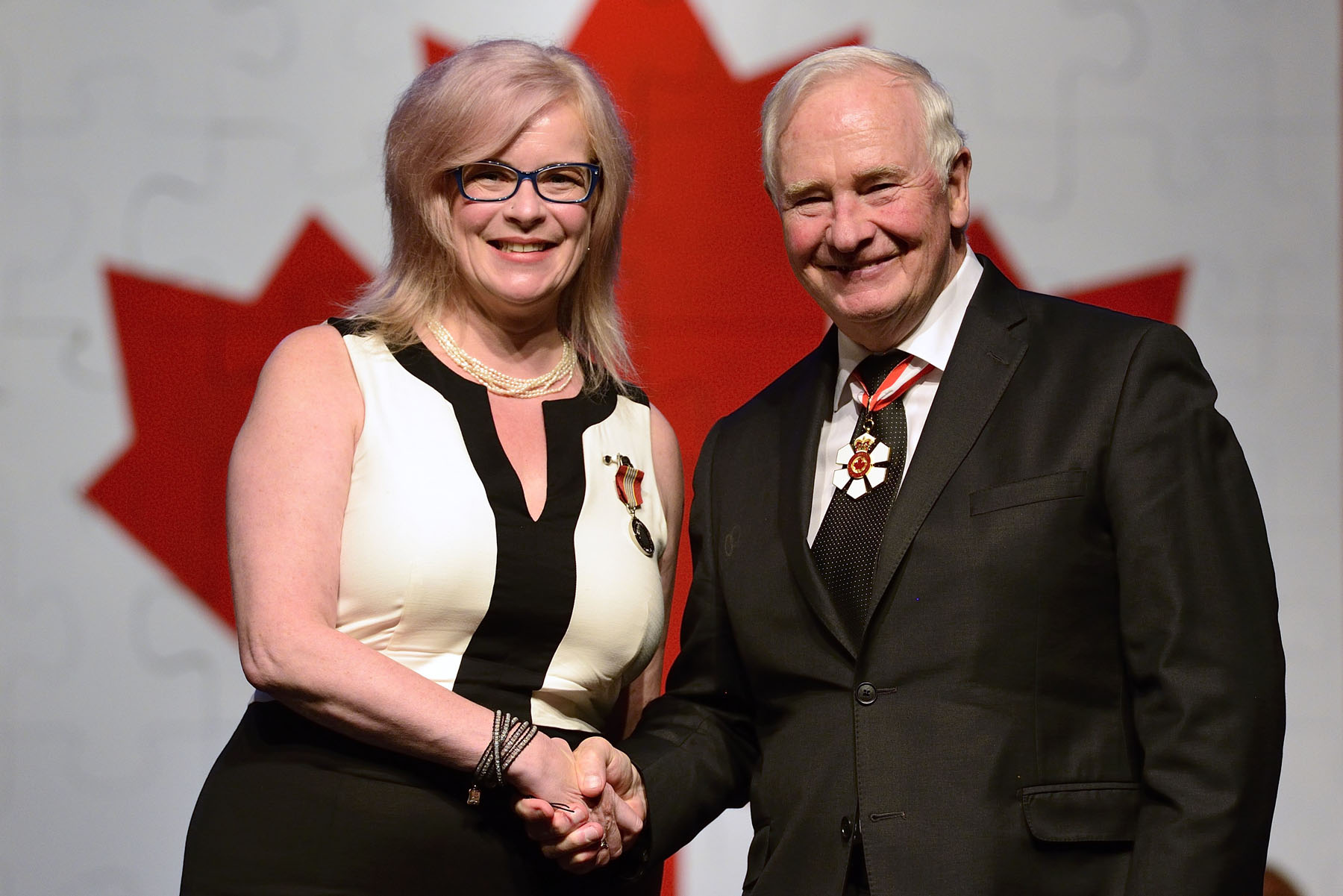 The Sovereign's Medal for Volunteers was presented to Michelle Blanchard for working to advance the arts and culture of Prince Edward Island's Francophone and Acadian community through Music PEI and the Fédération culturelle de l'Île-du-Prince-Édouard. Serving in executive positions with both organizations, she has helped preserve and nurture her culture in Atlantic Canada.